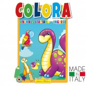 ALBUM DA COLORARE DIDATTICO COLORA ANIMALS INGLESE ITALIANO
